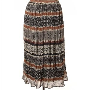 3/$40 D&Co Gray/Brown Color block Maxi Skirt 1X